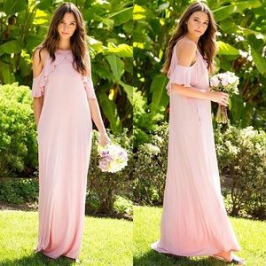 PINK Ruffle Cold Shoulder Maxi Dress